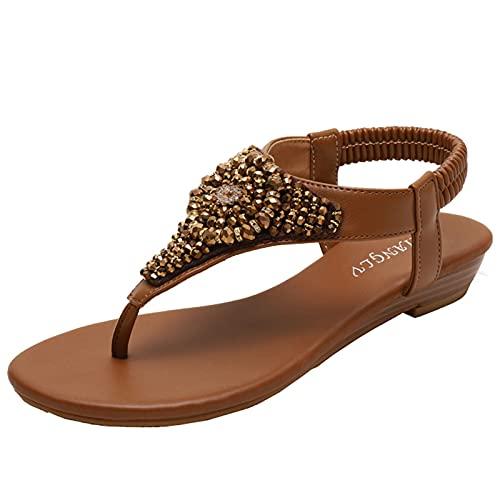 Erocalli Wedges Flip Flops Sandals for Women Thong Gladiator Sandals Elastic Band Bohemia Beach Sandals