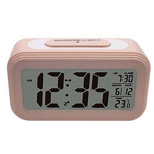 UNIAI Digitale Wecker Reisewecker Elektronische Nachtwecker - Smart Travel Battery Clock Große LCD-Kalender - Temperaturanzeige Snooze Night Light Silent für Kinderzimmer