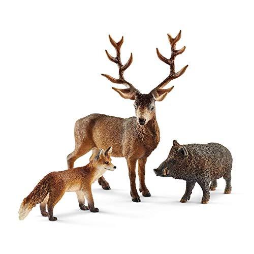Schleich Wild Life - Figuras Animales del Bosque, Incluye Jabalí, Ciervo Rojo y Zorro