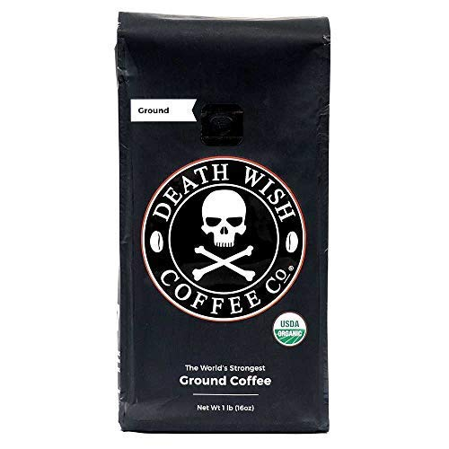 Death Wish Ground Coffee, The World's Strongest Coffee, Fair Trade and USDA Certified Organic, 16...