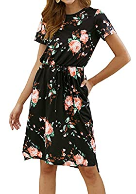 Women's Plain Casual Flowy Short Sleeve Midi Dress with Belt