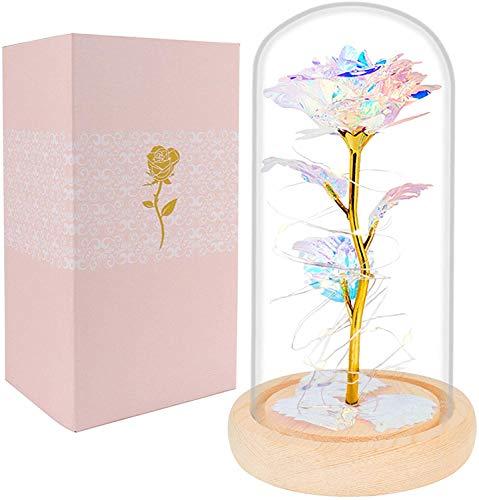 Rose verzauberte Blume mit Licht in Glaskuppel für Weihnachten Valentinstag Muttertag Geburtstag Freundin Frau Frauen Sie