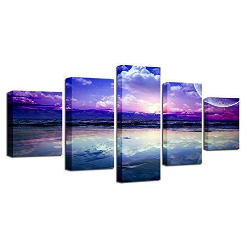 DAIZHJ muurkunst canvasfoto's wooncultuur 5 stuks lila skyline wolken zee schilderij HD gedrukt seascape poster woonkamer