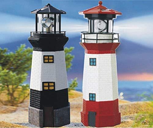 2 x 38 cm große Leuchttürme rot & schwarz dekoratives Licht wasserdicht Solar LED Leuchtturm Lampe für Party Terrasse Weg Garten Ornamente Outdoor