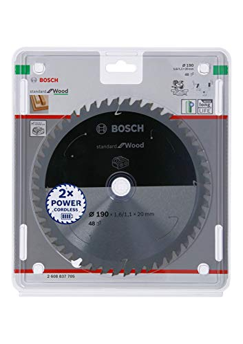 Bosch Professional 2608837705 Disco Standard for Wood, Madera, 48 Dientes, Accesorio de Sierra Circular sin Cable, 190 x 20 x 1.6 mm