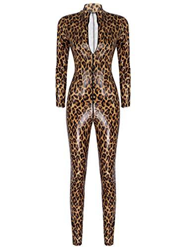 Yeahdor Damen Leopard Body Wetlook Ganzkörperanzug Einteiler Erotik Dessous Zipper-Body Rollkragen Bodysuit Catsuit Lang Clubwear Braun XL