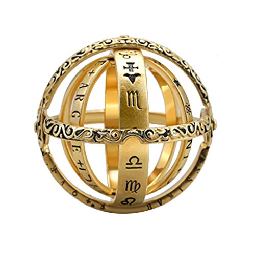 Collar para mujer con anillo de apertura de Astronomical Globe con anillo de ciencia vintage, cadena Necklaces seguidores de regalo, regalo sorpresa para amigas (oro 12)