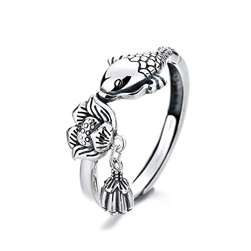 Anillo de plata pura S925 anillo de carpa anillo de joyería de loto para mujeres y hombres