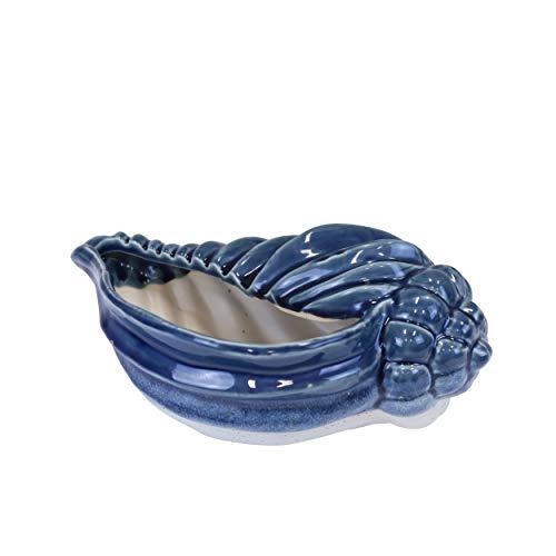 Sagebrook Home 14511-01 Muschel-Übertopf, Keramik, 27,9 cm, Graublau, 11 x 19,7 x 4,5 cm