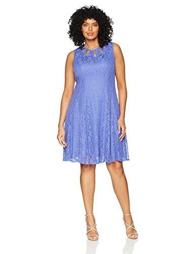 Gabby Skye Women's Plus Size Multi Key Hole Lace Dress, Peri/Peri