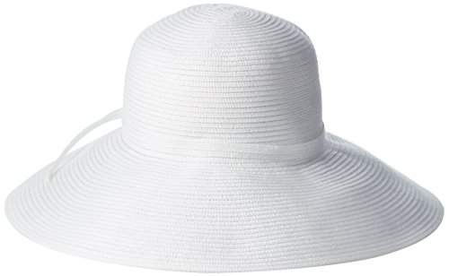 San Diego Hat Company Women's 5-inch Brim Sun Hat with Braid Self Tie, White, One Size