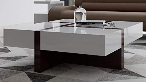 Zuri Mcintosh Square High Gloss Coffee Table with Storage - White and Ebony