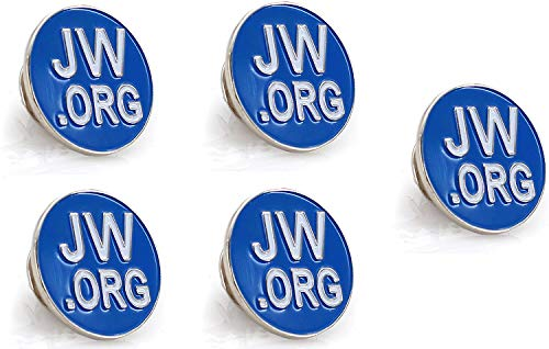 Jehovah Witness - 3/4' Round Blue Lapel Pin - JW.org Neck Tie Hat Tack Clip Women or Men Suits -5 Pcs in Package (Gold-Plated)