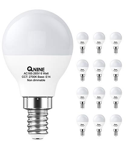 QNINE LED Birne E14, warmweiß(2700K), 6W(ersetzt 40-50W Glühbirne), 540 lumen, Nicht dimmbar, 12er-Pack, LED Leuchtmittel G45