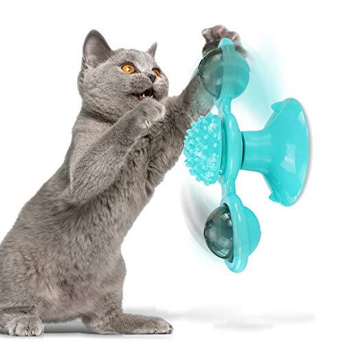 Miuphro Katzenspielzeug, katzenspielzeug windmühle, Katzenspielzeug Interaktives Katzenspielzeug mit LED-Ball und Katzenminze-Ball, Kratzen Juckreiz Kratzer Interaktion Lustiger Katzenstab (Blau)