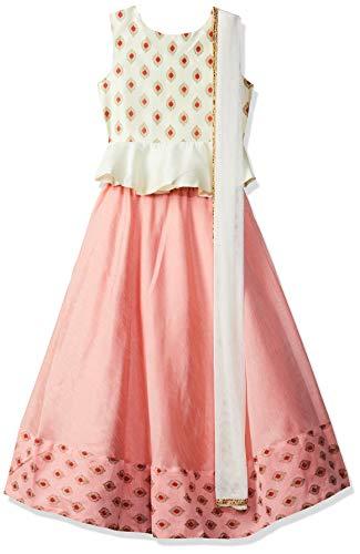 Gubbarey Girl's Silk Lehenga Choli (LC3024A_Peach_11-12 Y)