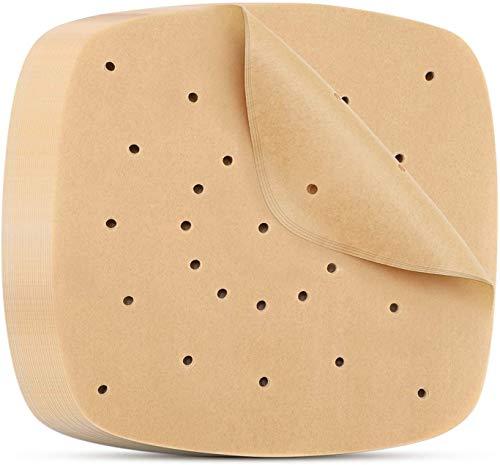 Ideal Swan 200 PCS Fodere per friggitrice ad Aria quadrate 21.6 cm Tappetino Antiaderente per Cottura a Vapore Carta Pergamena Perforata Non sbiancata per Biscotti da Forno - Marrone