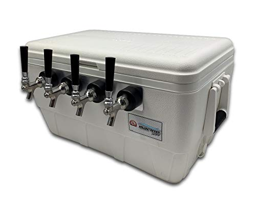 COLDBREAK Jockey Box, 4 Taps, Rear Inputs, 48 Quart Marine Cooler, 50' Coils, Stainless Steel Shanks, Includes Stainless Faucets, Kegmate