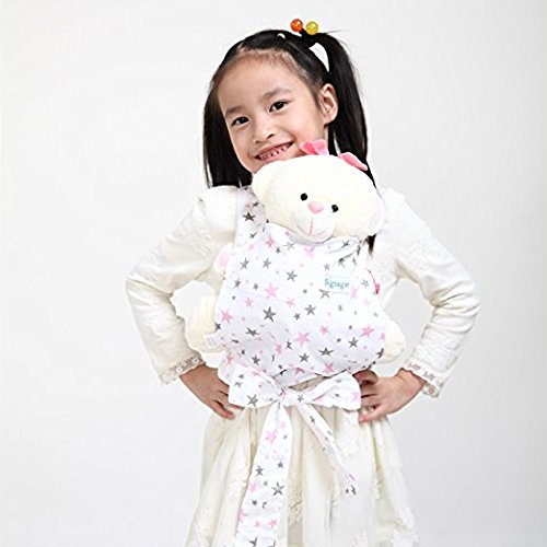 Baby Doll Carrier Mei Tai Sling Toy pour enfants Enfant enfant en bas d'enfant Dos, Mini-porteuse, Hibou, Dot, Fleur, Kaléidoscope (Pink Star)