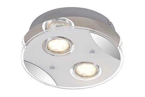 Briloner Leuchten - LED Deckenleuchte, Deckenlampe, 2 x LED/GU10 3W 250lm, chrom, Metall-Glas, 210x72 mm (DxH), rund
