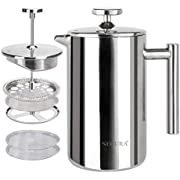 Secura French Press Coffee Maker, 304 Grade Stainless Steel Insulated Coffee Press with 2 Extra Screens, 12oz (0.35 Litre), Silver (SFP-12DS)