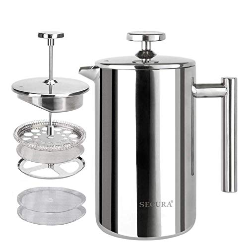 Secura French Press Coffee Maker, 304 Grade Stainless Steel Insulated Coffee Press with 2 Extra Screens, 12oz (0.35 Litre), Silver