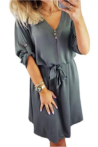 ZIYYOOHY Damen Casual Blusenkleid Chiffon Button V-Ausschnitt 3/4 Ärmel Freizeit Mini Sommerkleid Mit Gürtel (M, Grau)