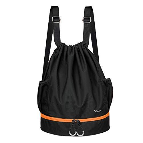 Ryaco Mochila de Cuerda Unisex, Saco de Gimnasia para Deporte Gimnasio Yoga Nadar (Negro & Naranja)