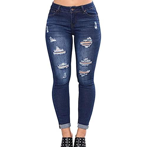 N/A/A Pantalones vaqueros ajustados para mujer, cintura alta, con agujeros, corte holgado