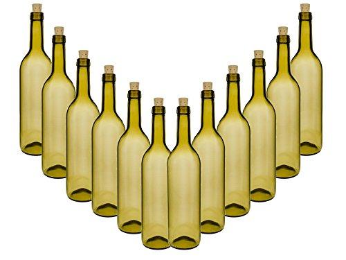 Glazen flessen set met kurk | 6-delig | inhoud 0,75 liter 750 ml | Tradit antieke groene wijn wijnflessen sapflessen likeurflessen olie jenever likeur