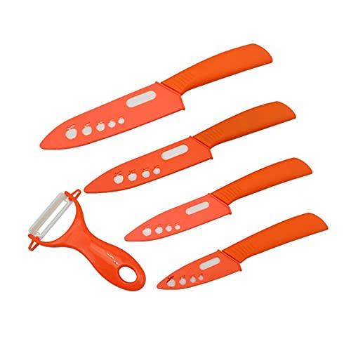 cuchillos Juego de cuchillos de cerámica 3 4 5 5 6 pulgadas Cuchillo de cocina Conjunto Fruta Vegetal Utility Blanking Circonio Blanco Cocina Cuchillos (Color : Orange)