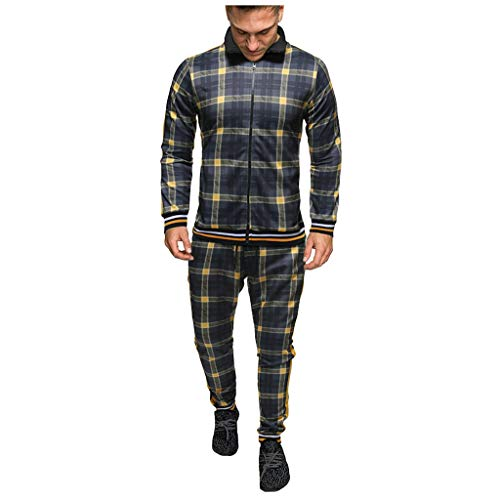 AOGOTO Trainingsanzug Herren O Hals Langarm gedruckt Sport Set Patchwork Sweatshirt Top + Hosen Sets Slim Fit Sportanzug