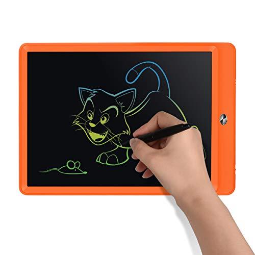 Upgrow LCD Writing Tablet, 10 Zoll LCD-Schreibtafeln, Grafiktabletts Schreibplatte Digital Schreibtafel Papierlos Schreiben Tabletten für Kinder Schule Graffiti Malen Notizen(Orange+Bunt)