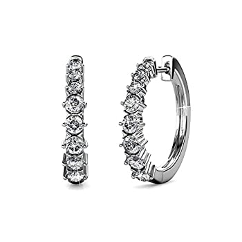 Cate & Chloe Claire Gold Hoop Earrings 18k White Gold Hoop Earrings with Swarovski Crystals Silver Small Hoop Earring Set for Women Wedding Anniversary Jewelry