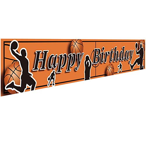 Ushinemi Happy Birthday Banner Basketball Party Decorations Supplies for Boys Son Kids Birthday Backdrop, Large Basketball Signs, 9.8X1.6Ft