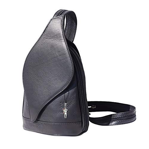 DrachenLeder Rucksack, Schultertasche schwarz Leder Damen Rucksack OTF602F, ohne, Schwarz