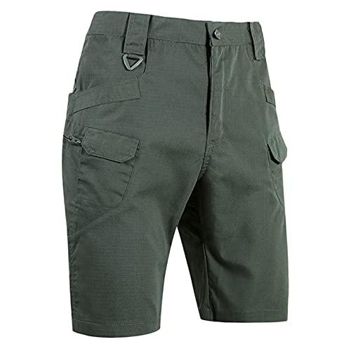 Hombres Clásico Shorts Cargo de Camuflaje Verano al Aire Libre Resistente al Agua y a Los Arañazos Pantalones Deportivos Shorts Transpirables con Multibolsillos (Caqui, M)