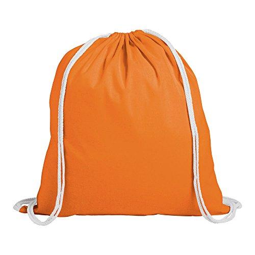 eBuyGB Cotone, unisex adulto, Zaino per bambini in cotone con coulisse, per palestra, nuoto, sport, pe, libretti (arancione), confezione da 10, 1206510-10, Arancione, Confezione da 10
