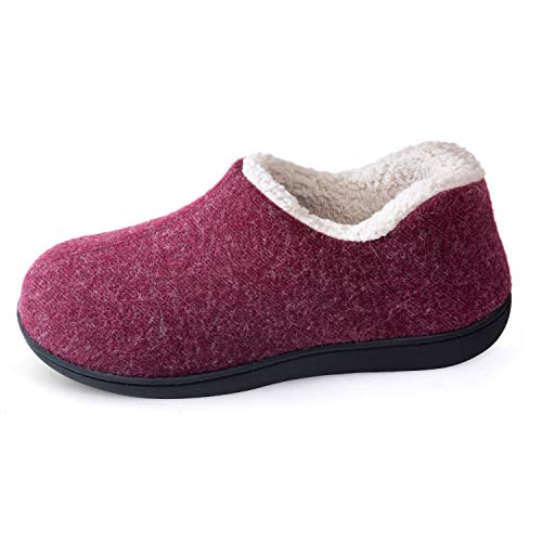ULTRAIDEAS Women's Cozy Memory Foam Closed Back Slippers with Warm Fleece Lining, Wool-Like Blend Cotton House Shoes with Anti-Slip Indoor Outdoor Rubber Sole (Red,Size 10)