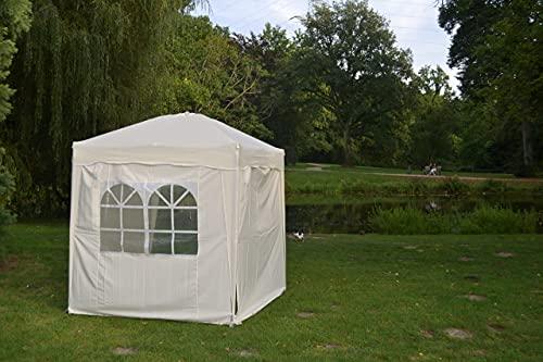 Defacto Faltpavillon 2x2m Pavillon Gartenzelt Zelt Partyzelt Ink 4-Seitenteile Faltbar 100{09f0b851868228697246b69e8db494555480ee5611a8a66d5c718930941bd24b} Polyester-Wasserdicht Tragetasche BEIGE
