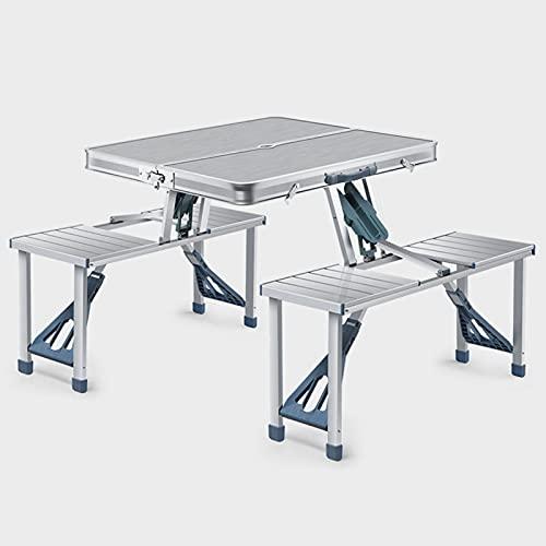 Mesa de camping plegable portátil, mesa plegable de aluminio con 4 asientos y orificios para sombrilla, juego de mesa y silla plegable portátil, adecuado para acampar al aire libre, picnic y pesca