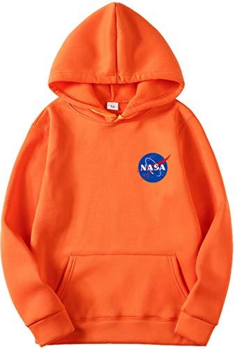 OLIPHEE Felpe con Cappuccio Tinta Unita con Logo di NASA Maglione Casuale per Ragazzi e Uomo A-ju-1 3XL