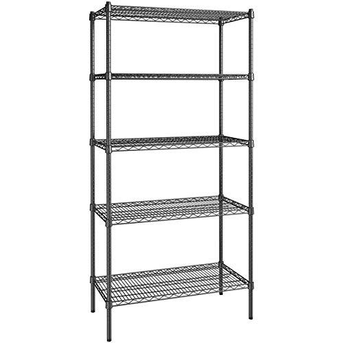 Oshion Basement Storage Shelves Heavy Duty Metal Shelf Wire Shelving 4-Tier, Garage Rack for Kitchen Garage Office,140H 90L 35W Black