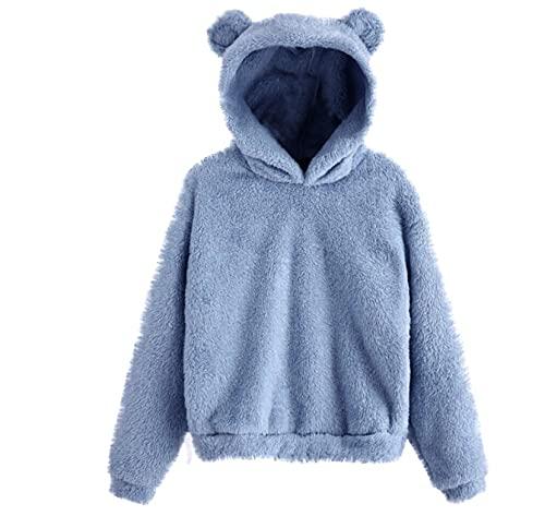 Sudadera con capucha para mujer, con diseño de oso, de forro polar, de manga larga, casual, blusa, azul, 4XL