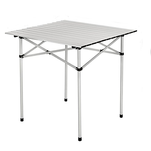 GOTOTOP Portable Aluminum Camping Table Lightweight Roll Up Folding Table with a Bag for Outdoor Picnic Cooking (70x70cm)