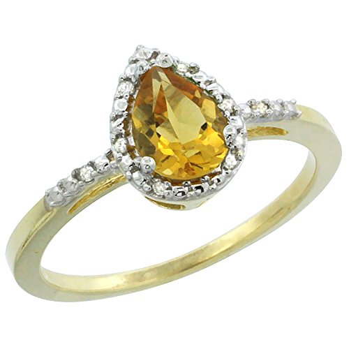 10K Yellow Gold Diamond Natural Citrine Ring Pear 7x5mm, size 10