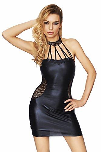 7-Heaven Damen Wetlook-Kleid Minikleid in schwarz dehnbar mit Netzeinsätzen Neckholder Kleid S
