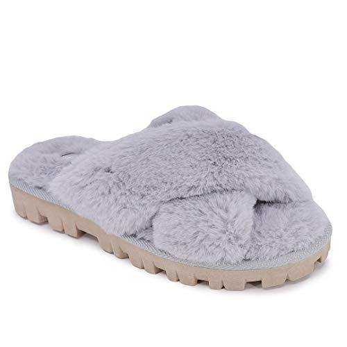 Nautica Women's Slipper Fluffy Warm Slide Indoor Outdoor Flip Flop Shoe Soft Flat Comfy-Aren-Grey-9