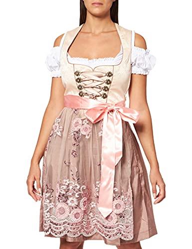 Fuchs Trachtenmoden Damen Kleid, Mehrfarbig (Champagner/Rose), 40