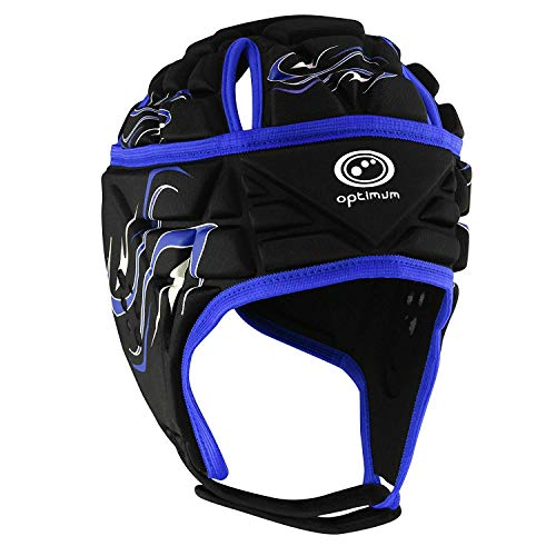 OPTIMUM Inferno - Casco de Rugby, Color Negro/Azul (Black/Blue), Talla Small